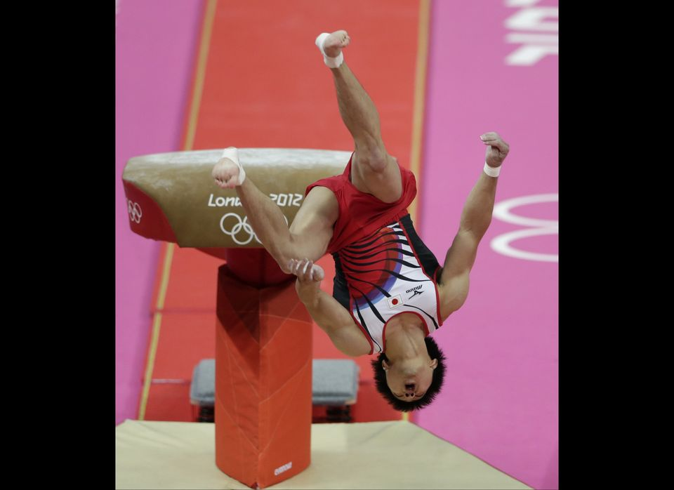 Japanese gymnast Koji Yamamuro fails his vault jump during the Artistic Gymnastic men's team final at the 2012 Summer Olympic