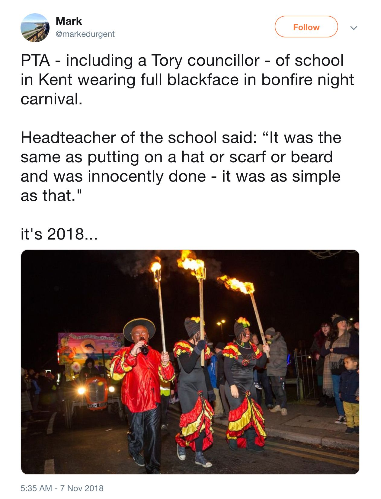 Tory Councillor Among Parents Who 'Blacked Up' For Bonfire