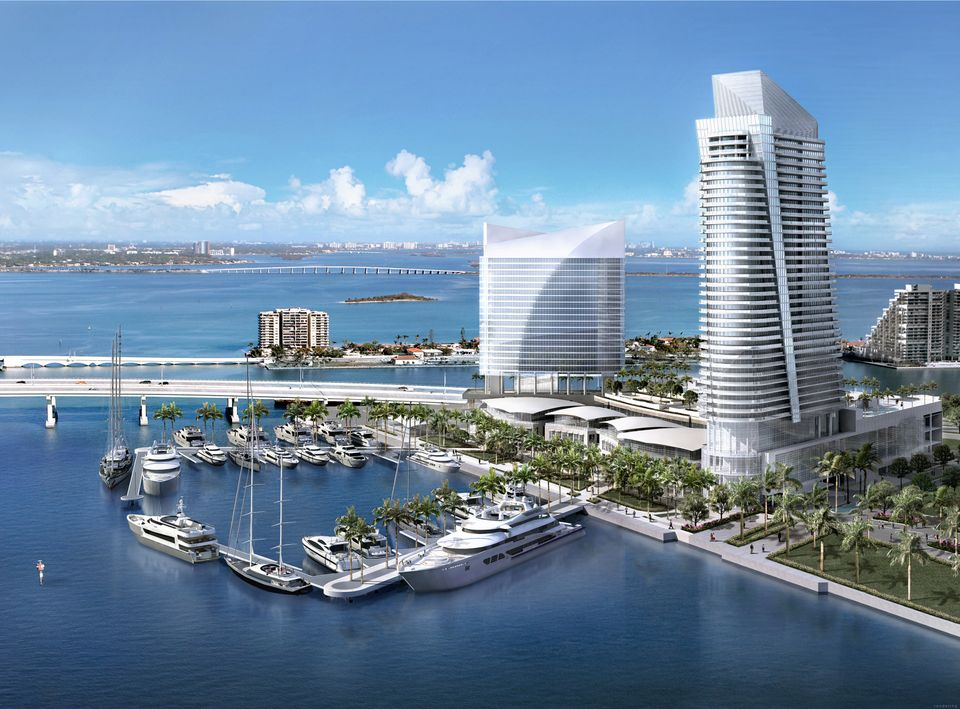 Northeast rendering view of project on Watson Island, Miami