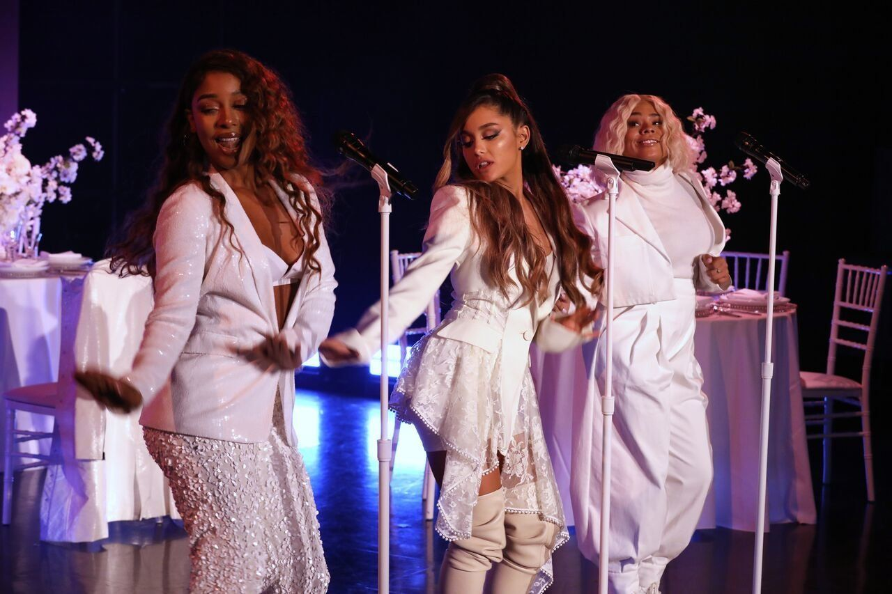 Ariana Grande performs 'Thank U, Next' in a wedding dress