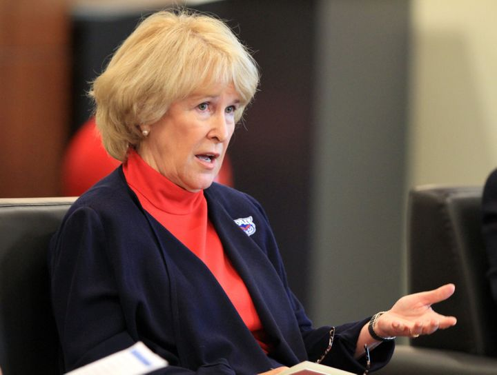 Florida Atlantic University president Mary Jane Saunders answers questions from students in the wake of February 2013 news th