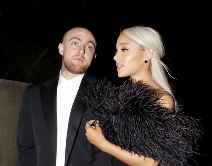 Ariana Grande and Mac Miller attend an Oscars after-party in 2016.