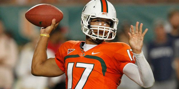 MIAMI GARDENS, FL - OCTOBER 20: Stephen Morris #17 of the Miami Hurricanes throws the ball against the Florida State Seminole