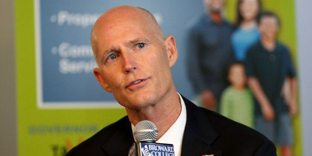 FORT LAUDERDALE, FL - SEPTEMBER 10:  Florida Governor Rick Scott speaks at a meeting with business leaders and other politici