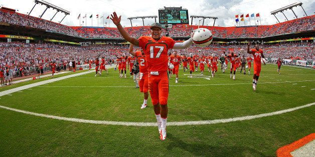 MIAMI GARDENS, FL - SEPTEMBER 07:  Stephen Morris #17 of the Miami Hurricanes celebrates winning a game against the Florida G