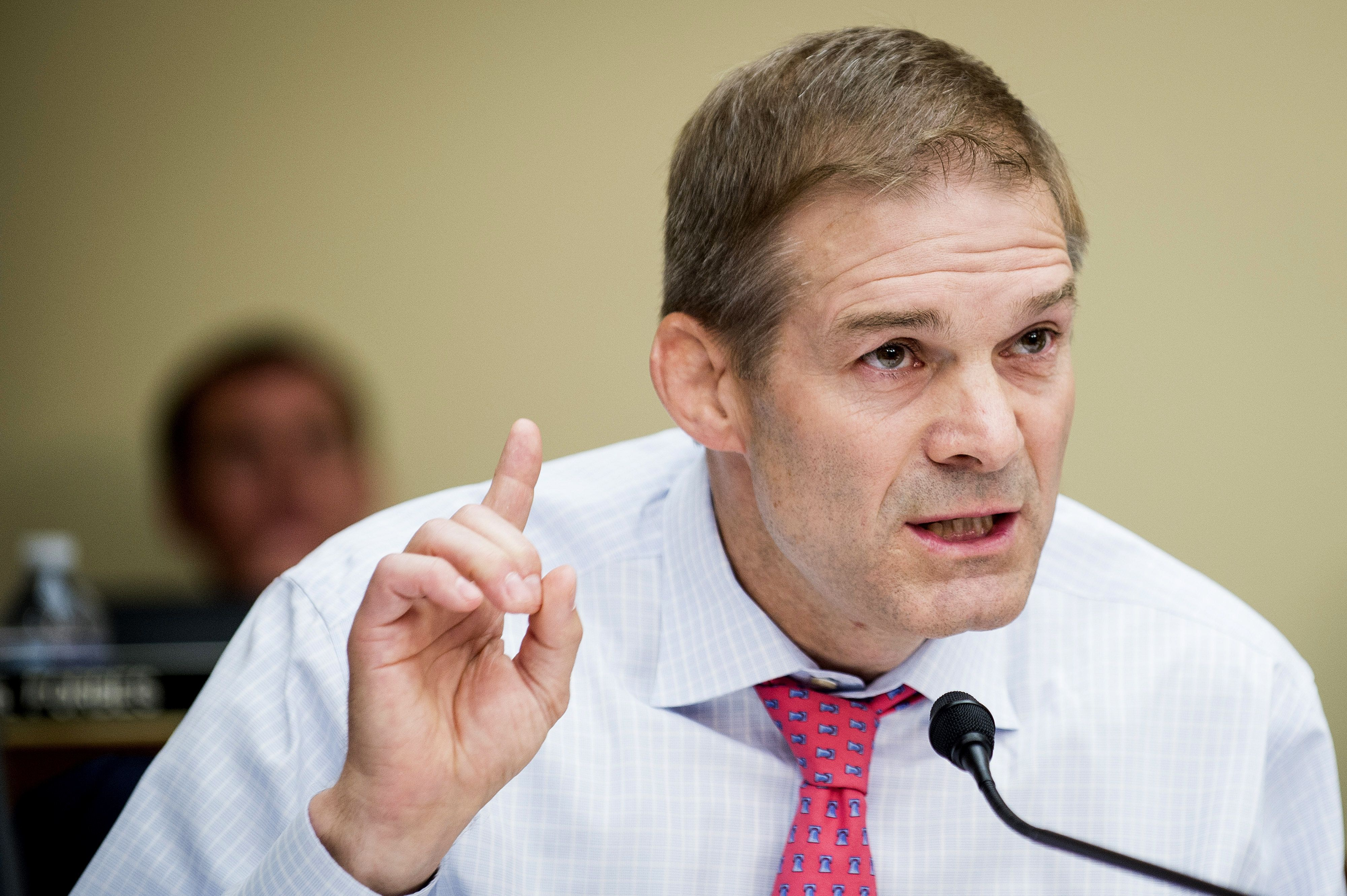 Representative Jim Jordan, a Republican from Ohio, questions Loretta Lynch, U.S. attorney general, not pictured, during a House Judiciary Committee in Washington. D.C., U.S., on Tuesday, July 12, 2016. Lynch rejected Republican demands to discuss her decision against prosecuting Hillary Clinton before a House panel whose chairman said the former secretary of state's careless handling of official communications may have jeopardized U.S. national security. Photographer: Pete Marovich/Bloomberg via Getty Images