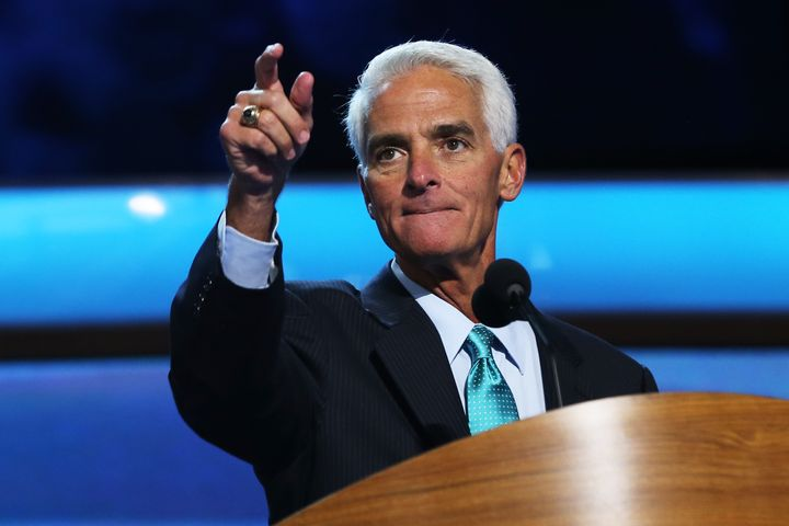 CHARLOTTE, NC - SEPTEMBER 05:  Former Florida Gov. Charlie Crist stands at the podium during a walkthrough during day two of