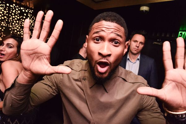 Usher hosted a dinner at for artists Daniel Arsham and Alex Mustonen of Snarkitecture at the Delano South Beach, then hit the