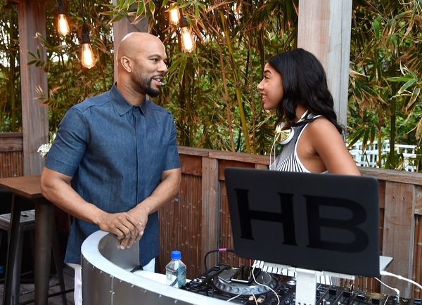 Common chatted with DJ Hannah Bronfman while hosting a party with Spike TV at the W South Beach.