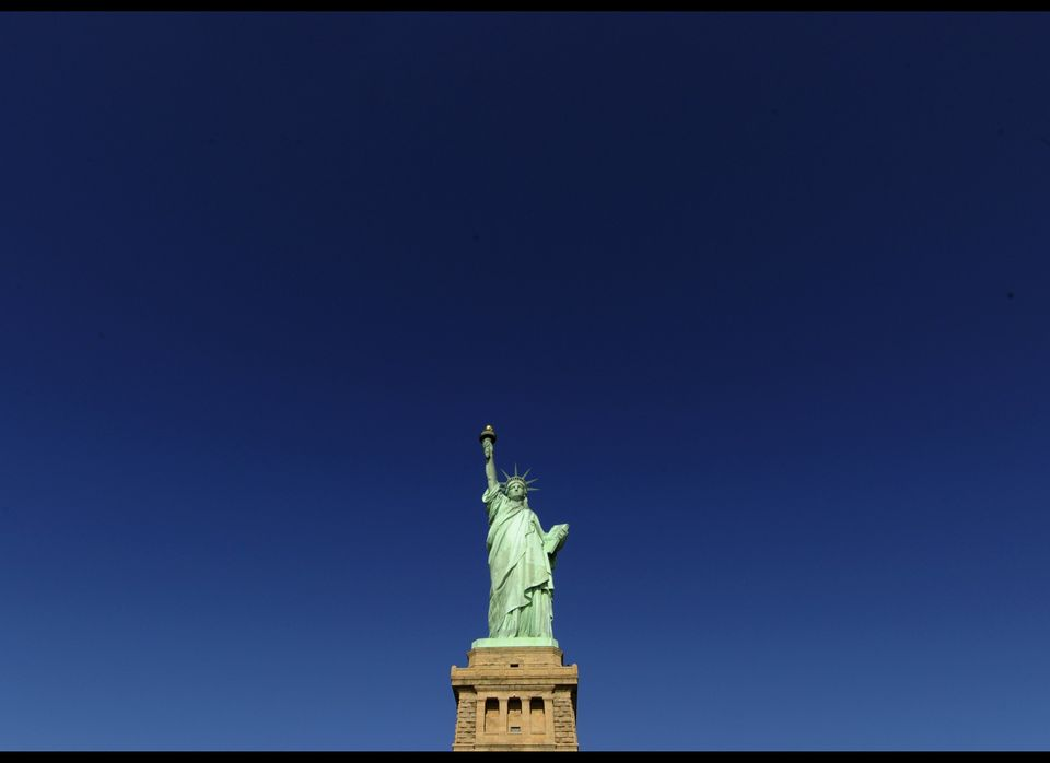 The Statue of Liberty after ceremonies on Liberty Island in New York on October 28,2011 to commemorate the 125th anniversary
