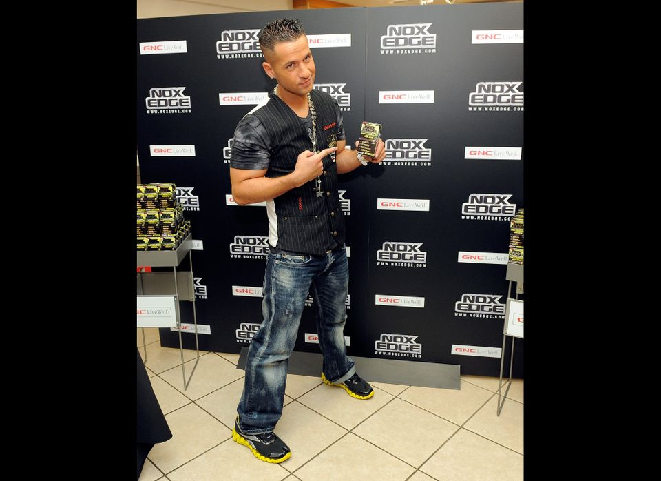 NEW YORK - JULY 01:  Mike 'The Situation' Sorrentino poses with the NoX Edge supplement during the NoX Edge supplement launch
