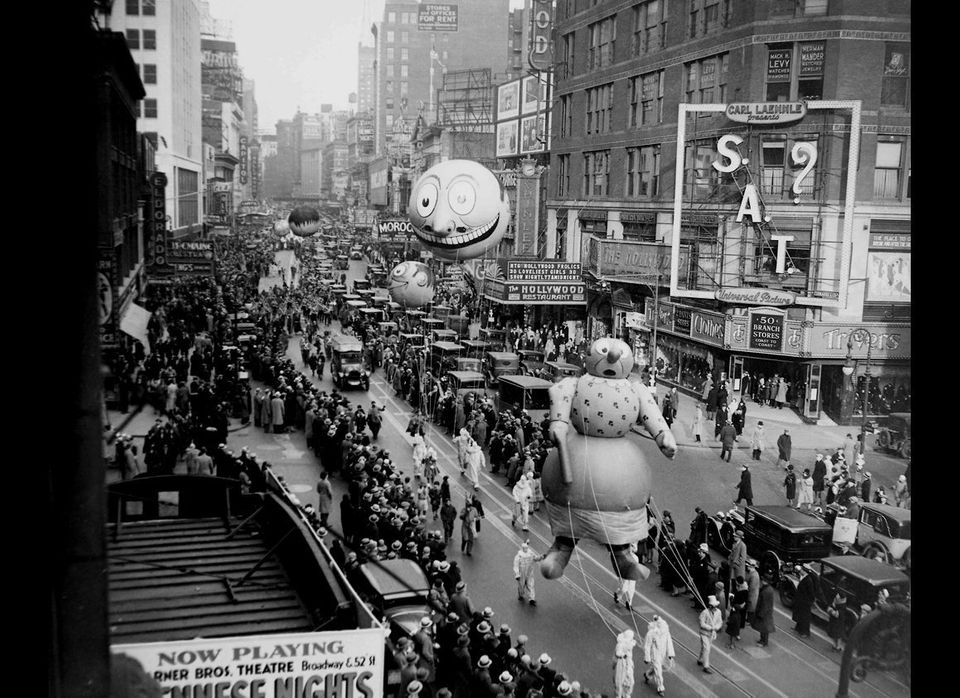 The Macy's annual Thanksgiving Day Parade passes down Broadway in New York, in this Nov. 27, 1930 file photo.  (AP)