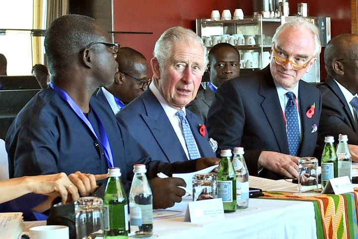 Prince Charles attends a meeting to discuss the cocoa industry at the Movenpick Hotel on Nov. 5 in Accra, Ghana. He is on a n