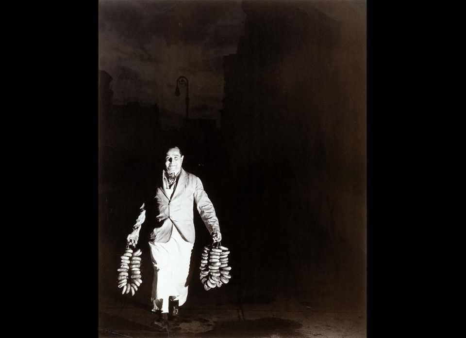Weegee, <em>Max Is Rushing in the Bagels to a Restaurant on Second Avenue for the