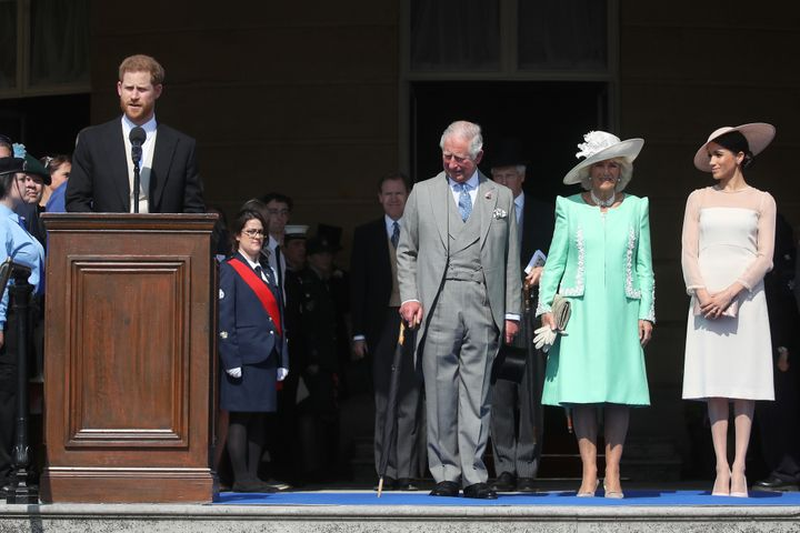 Prince Harry, Prince Charles, the Duchess of Cornwall and the Duchess of Sussex at Charles' 70th birthday patronage celebrati