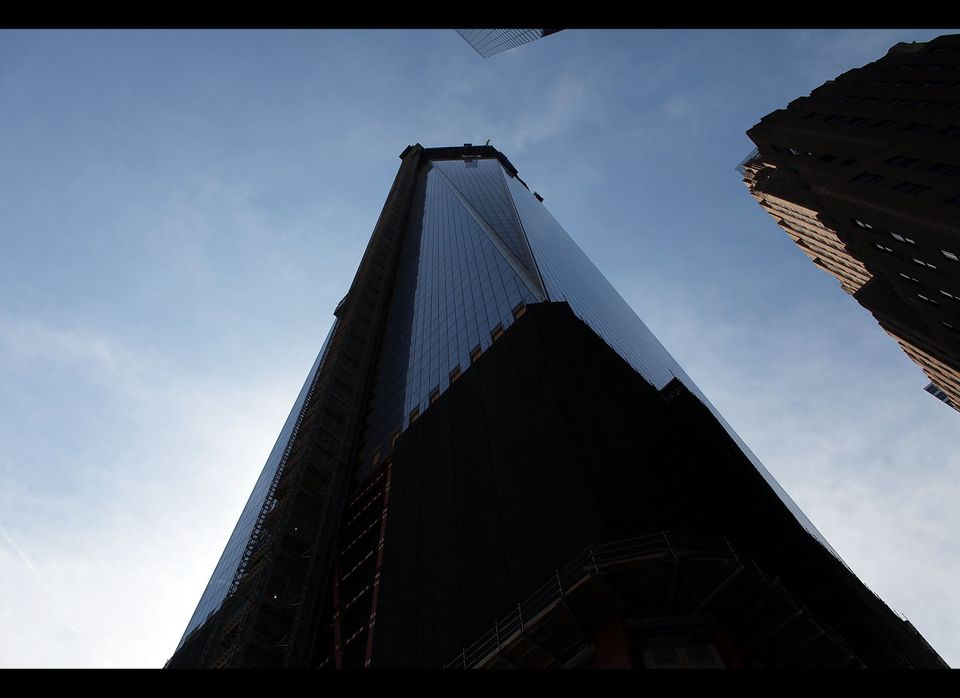 NEW YORK, NY - APRIL 30: One World Trade Center building, which is under construction on the site of the destroyed original W