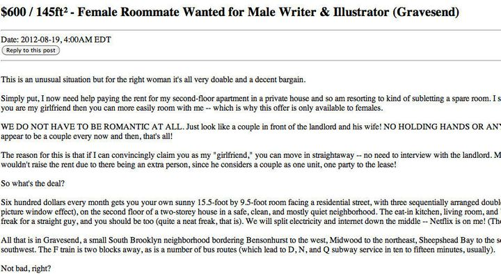 Craigslist Ad Seeks Fake Girlfriend To Be Roommate For Cheaper Rent