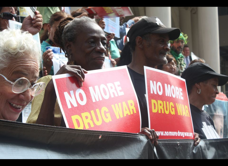 "Members of VOCAL-NY join the Caravan for Peace on the steps of City Hall Sept. 7, 2012, to protest the ""failed"" war on drugs"