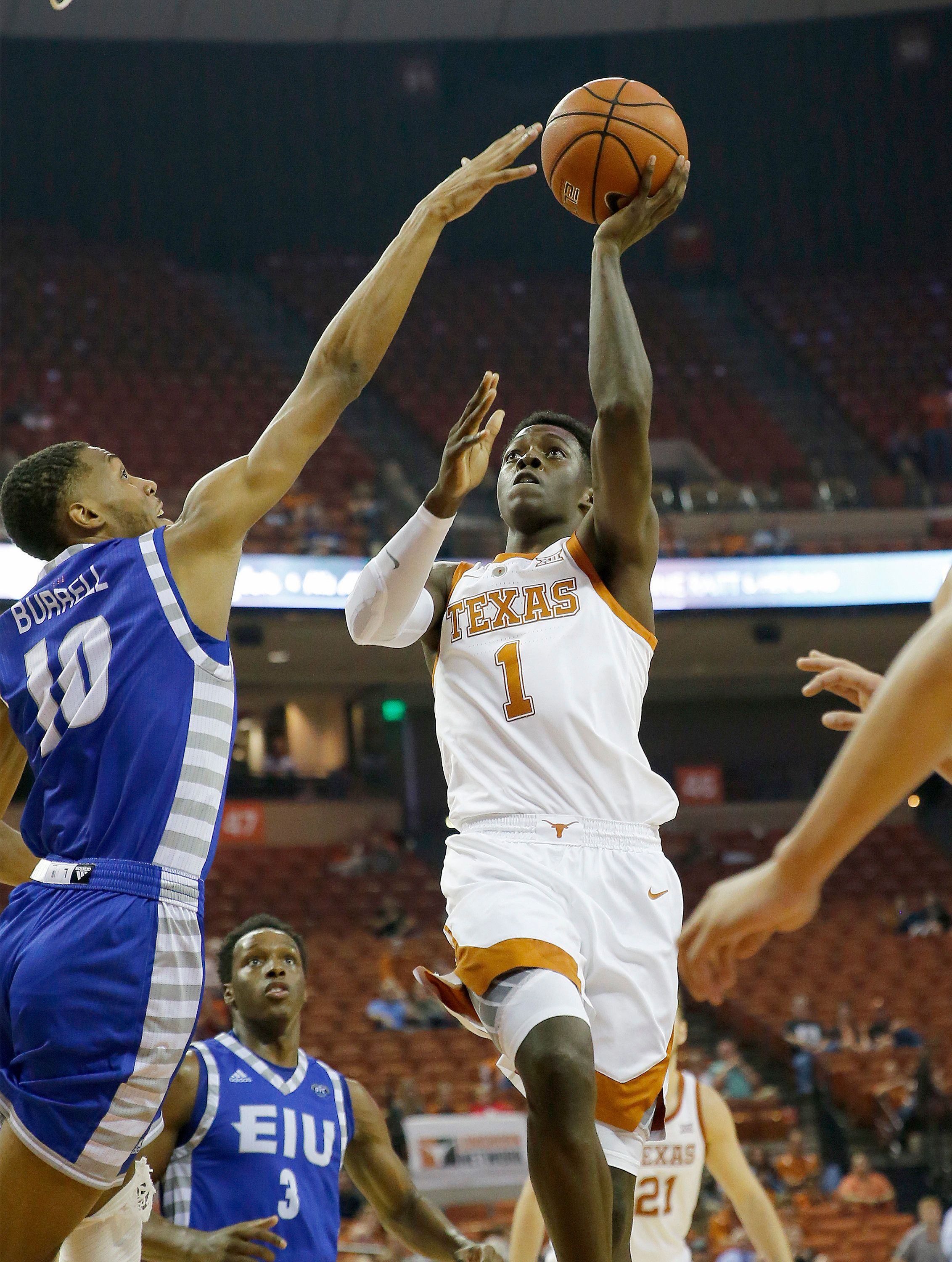 AUSTIN, TX - NOVEMBER 6: Andrew Jones #1 of the Texas Longhorns shoots over Cam Burrell #10 of the Eastern Illinois Panthers at the Frank Erwin Center on November 6, 2018 in Austin, Texas. (Photo by Chris Covatta/Getty Images)