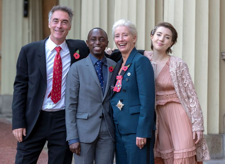 Emma Thompson and her family at Buckingham Palace.