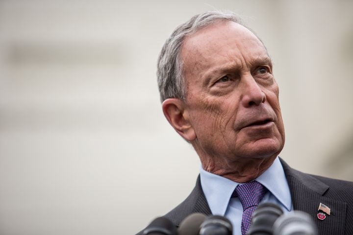 WASHINGTON, DC - FEBRUARY 27: New York City Mayor Michael Bloomberg speaks to the media outside the West Wing of the White Ho
