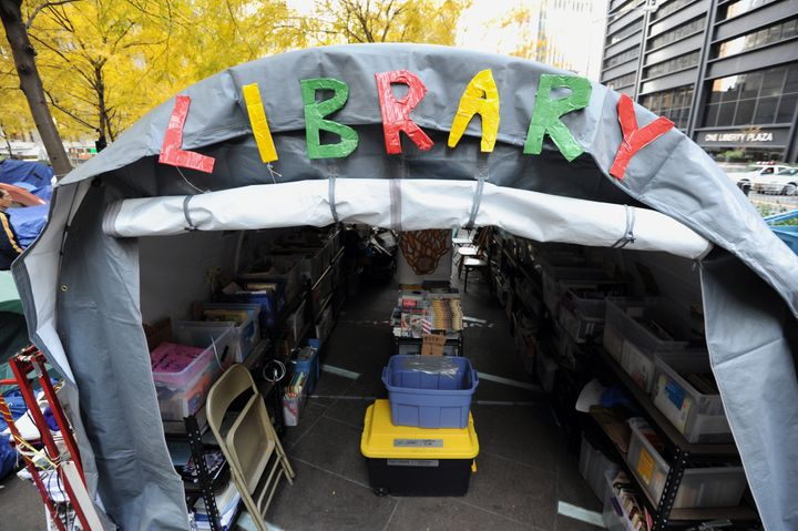 The Occupy Wall Street library in Zuccotti Park on November 14, 2011 in New York, one day before New York City police evicted