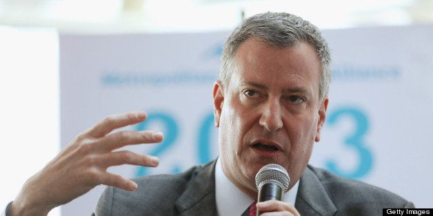 NEW YORK, NY - APRIL 09:  New York City Public Advocate and mayoral candidate Bill de Blasio speaks at a political forum on a