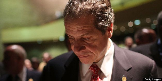 NEW YORK, NY - FEBRUARY 06:  New York Governor Andrew Cuomo pauses after delivering his State of the State and budget proposa
