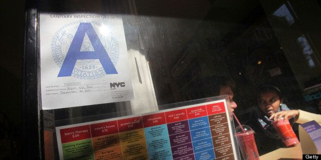 NEW YORK, NY - MARCH 07:  A Manhattan restaurant rated with a Health Department  'A' grade is seen March 7, 2011 in New York