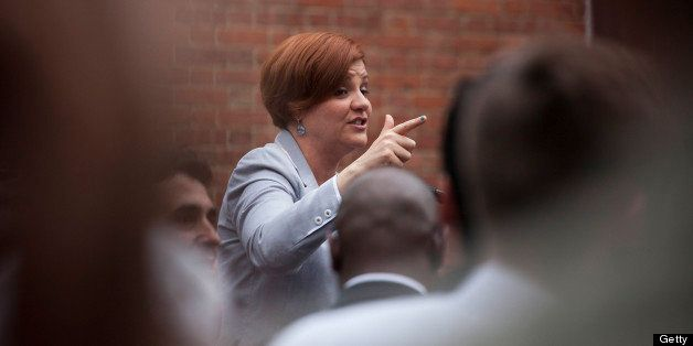 Christine Quinn, New York City Council speaker and mayoral candidate, speaks to supporters of same-sex marriage during a rall