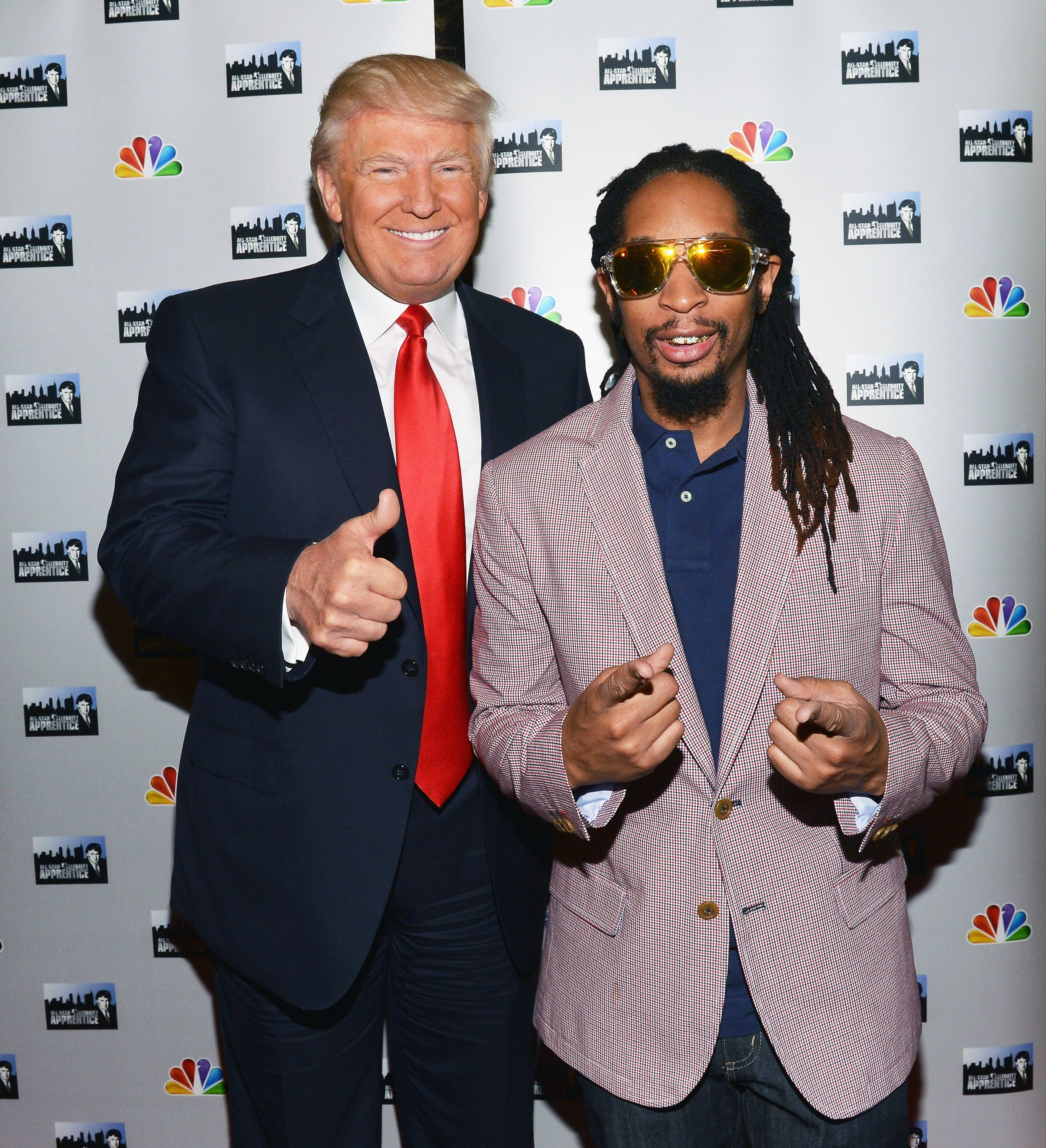 NEW YORK, NY - MAY 16:  Donald Trump (L) and Lil Jon attend 'All Star Celebrity Apprentice' Red Carpet Event at Trump Tower on May 16, 2013 in New York City.  (Photo by Slaven Vlasic/Getty Images)