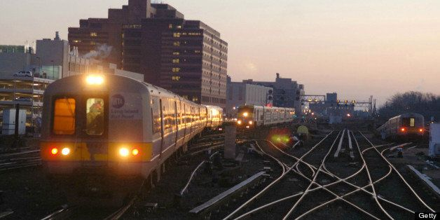 UNITED STATES - DECEMBER 22:  Long Island Railroad trains bound for New York's Pennsylvania Station arrive at the Jamaica sta