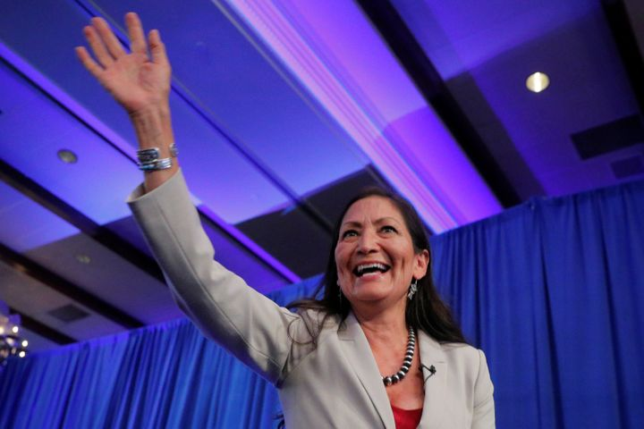 Deb Haaland takes the stage Tuesday after becoming one of two Native American women to be elected to the U.S. House of Repres
