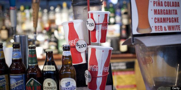 NEW YORK, NY - MARCH 11:  Soda cups of various sizes are seen at the food court of the South Street Seaport March 11, 2013 Ne