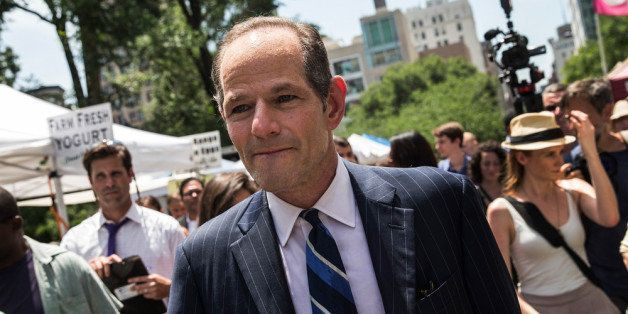 NEW YORK, NY - JULY 08:  Former New York Gov. Eliot Spitzer collects signatures from citizens to run for comptroller of New Y