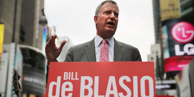 NEW YORK, NY - AUGUST 12:  Public Advocate and New York City Mayoral candidate Bill de Blasio speaks at an endorsement in Tim