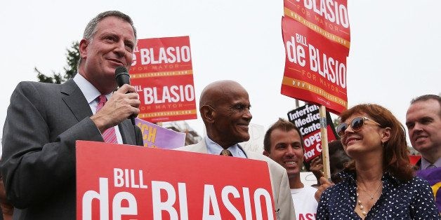 NEW YORK, NY - AUGUST 19:  Democratic candidate for Mayor and Public Advocate Bill de Blasio (L) speaks as actor, singer and