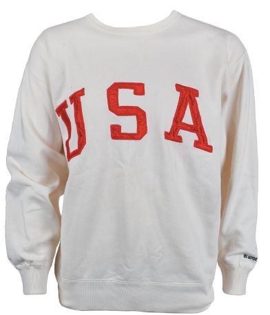The cream-colored sweatshirt that sold for more than $7,500,