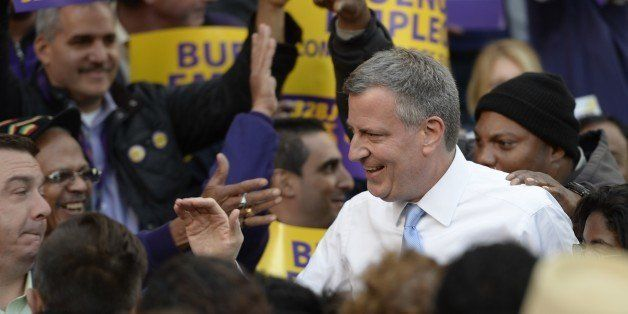 New York City Democratic mayoral candidate Bill de Blasio speaks to a 'Labor Get out to Vote Rally' at  Brooklyn Borough Hall