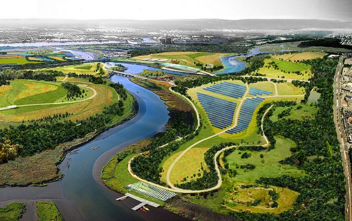 Rendering shows aerial view of what will be the city's largest solar energy installation in Freshkills Park in Staten Island.