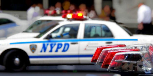 [UNVERIFIED CONTENT] Perspective view on NYPD Patrol Cars Lights and Sirens
