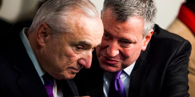 NEW YORK CITY - DECEMBER 7: (L-R) Newly selected police commissioner Bill Bratton and Mayor-elect Bill De Blasio attend a Nel