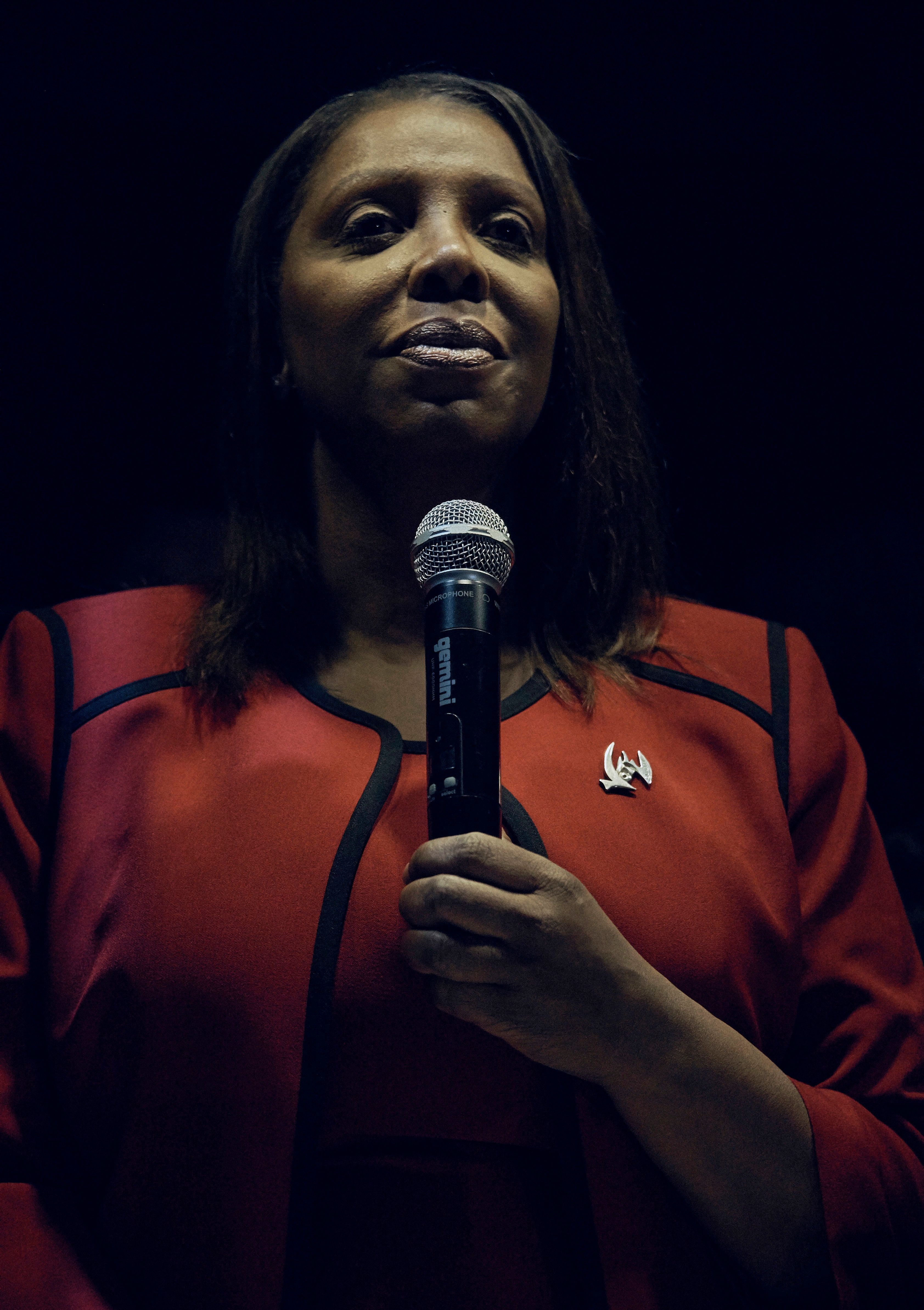 Democratic elected Attorney General New York Letitia James speaks during her election night party in Brooklyn borough of New York, Tuesday, Nov. 6, 2018. (AP Photo/Andres Kudacki)
