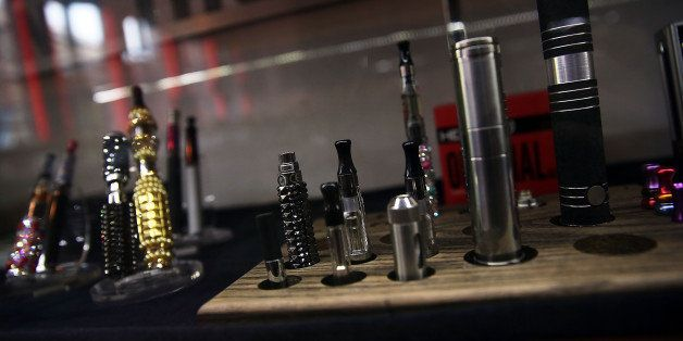 NEW YORK, NY - DECEMBER 19:  Different vaping pipes, or electronic cigarettes, are viewed for sale at the newly opened Henley
