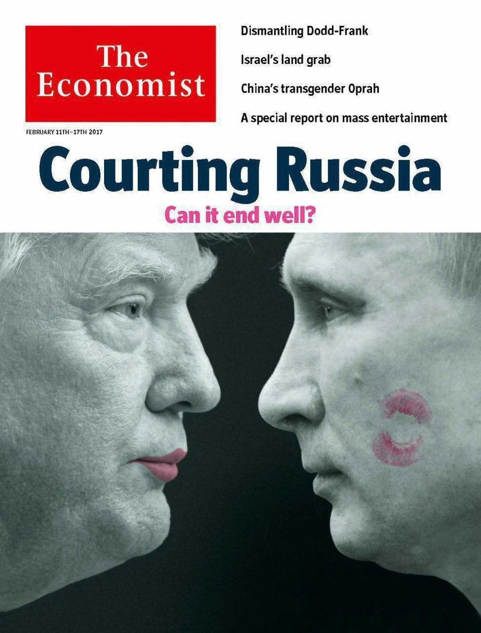 A lipstick-wearing Donald Trump puckers up to Vladimir Putin on the cover of The