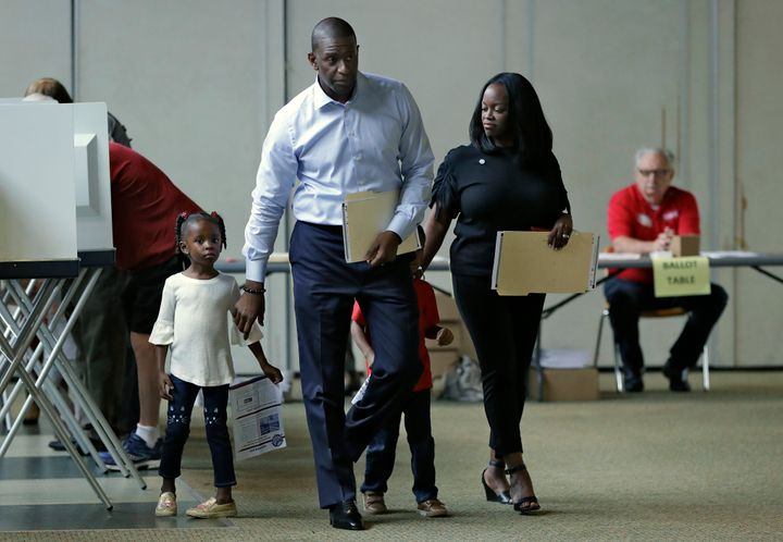 Andrew Gillum at the polls with his family.