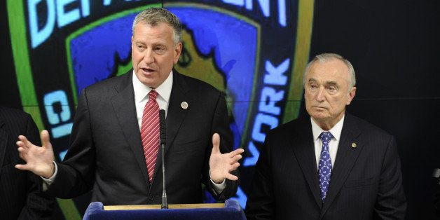 Mayor De Blasio Commissioner Bratton and District Attorney Cyrus Vance announce initiative to enhance NYPD mobile communicati