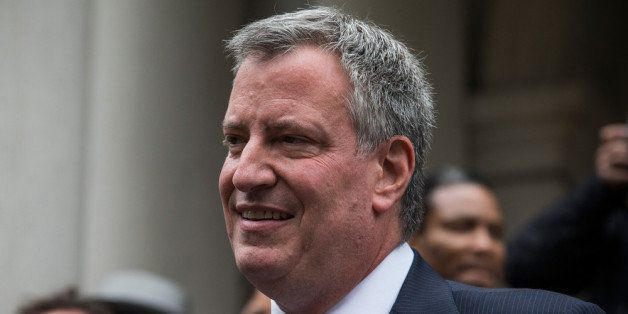 NEW YORK, NY - SEPTEMBER 16: New York City Democratic mayoral candidate Bill De Blasio, speaks outside New York City Hall aft