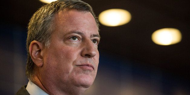 NEW YORK, NY - DECEMBER 04:  New York City Mayor Bill de Blasio speaks at a press conference after witnessing police being re