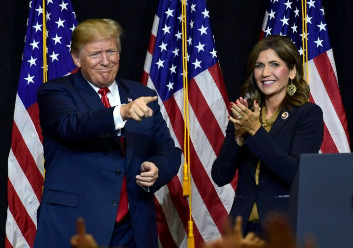 Krisi Noem, South Dakota's first female governor, campaigning with Trump